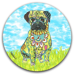 MM2-432-Pug-Dog-Grass-Sky-Car-Coaster-Melissa-Meeks-and-CJ-Bella-Co