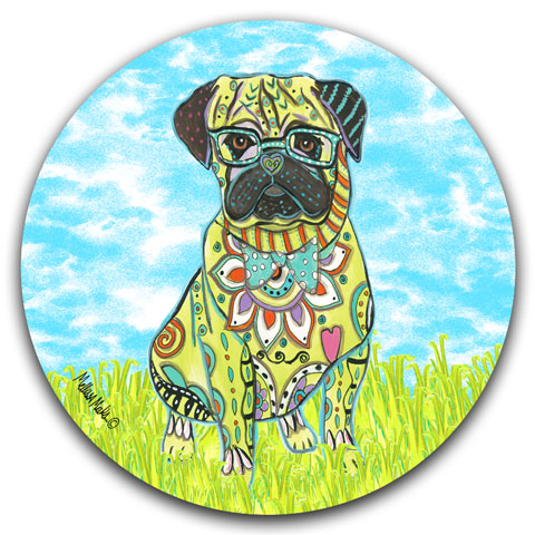"""Pug at the Park"" Car Coaster by Mellissa Meeks"