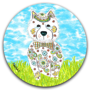 MM2-447-Dog-Grass-Sky-West-Highland-Terrier-Westie-Car-Coaster-Melissa-Meeks-and-CJ-Bella-Co