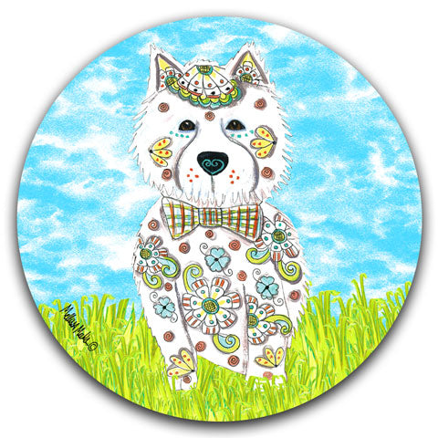"""West Highland Terrier at the Park"" Car Coaster by Mellissa Meeks"
