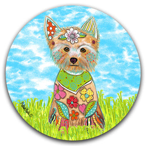 MM2-448-Yorkie-Yorkshire-Terrier-Dog-Grass-Sky-Car-Coaster-Melissa-Meeks-and-CJ-Bella-Co