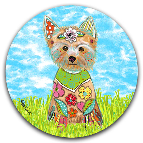 """Yorkshire Terrier at the Park"" Car Coaster by Mellissa Meeks"