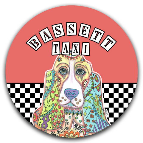 """Basset Taxi"" Car Coaster by Mellissa Meeks"
