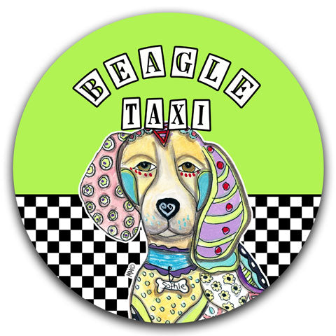 """Beagle Taxi"" Car Coaster by Mellissa Meeks"