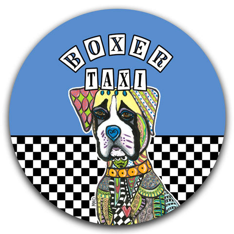 """Boxer Taxi"" Car Coaster by Mellissa Meeks"
