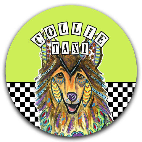 """Collie Taxi"" Car Coaster by Mellissa Meeks"