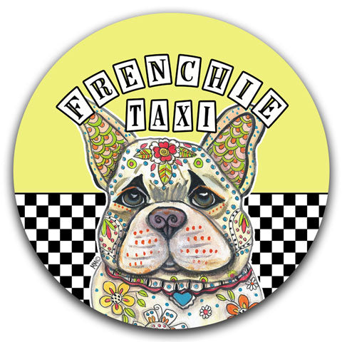 """French Bulldog (Frenchie) Taxi"" Car Coaster by Mellissa Meeks"
