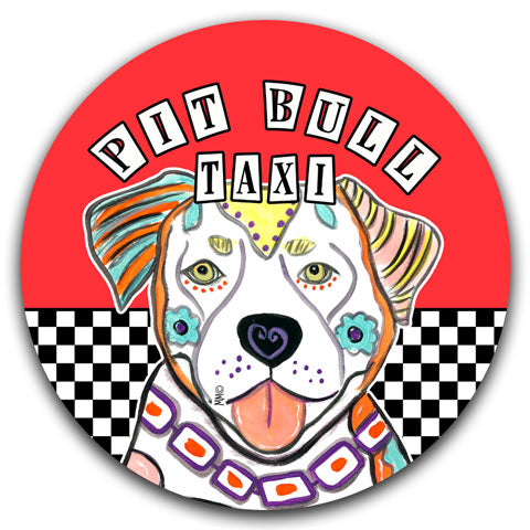 """Pit Bull Taxi"" Car Coaster by Mellissa Meeks"