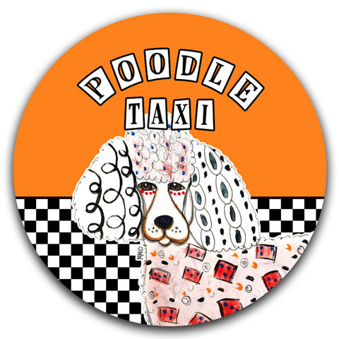 """Poodle Taxi"" Car Coaster by Mellissa Meeks"