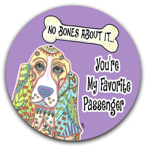 """Basset Hound No Bones About It"" Car Coaster by Mellissa Meeks"