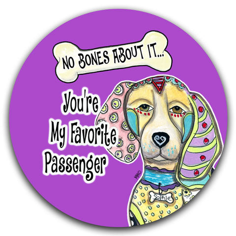 """Beagle No Bones About It"" Car Coaster by Mellissa Meeks"