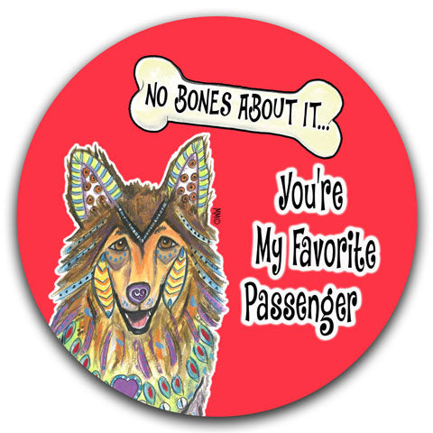 """Collie No Bones About It"" Car Coaster by Mellissa Meeks"