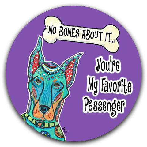 """Doberman No Bones About It"" Car Coaster by Mellissa Meeks"