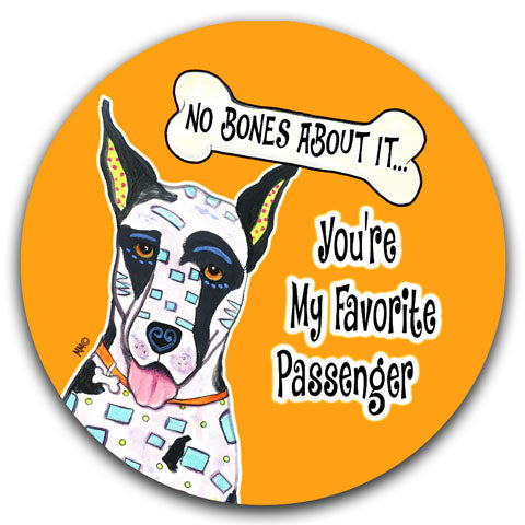"""Great Dane No Bones About It"" Car Coaster by Mellissa Meeks"