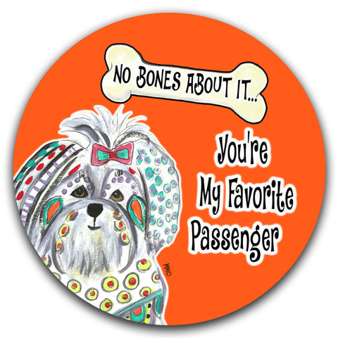 """Maltese No Bones About It"" Car Coaster by Mellissa Meeks"