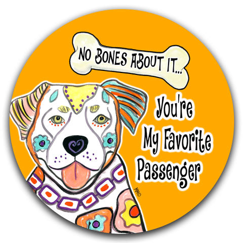 """Pit Bull No Bones About It"" Car Coaster by Mellissa Meeks"