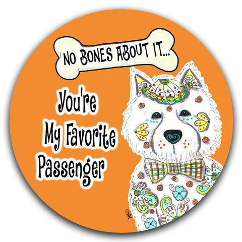 """West Highland Terrier No Bones About It"" Car Coaster by Mellissa Meeks"