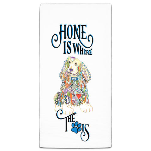 """Cocker Spaniel Home is Where the Paw Is"" Flour Sack Towel by Mellissa Meeks"