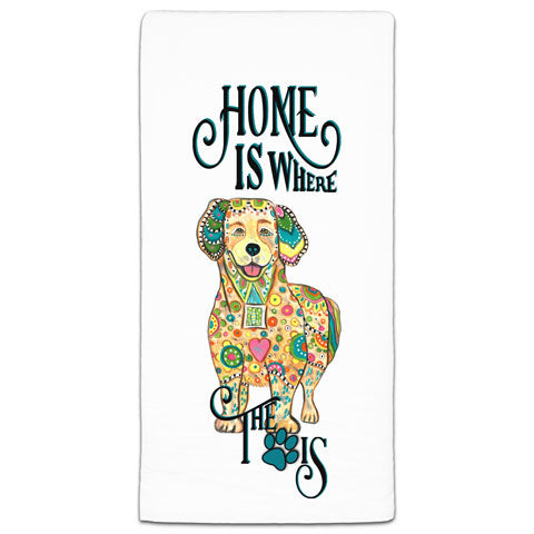 """Golden Retriever Home is Where the Paw Is"" Flour Sack Towel by Mellissa Meeks"