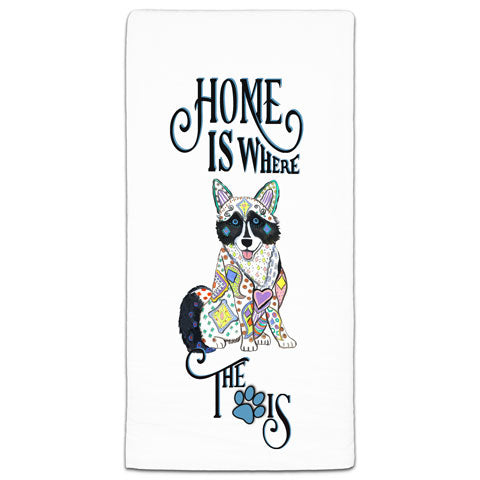 """Husky Home is Where the Paw Is"" Flour Sack Towel by Mellissa Meeks"