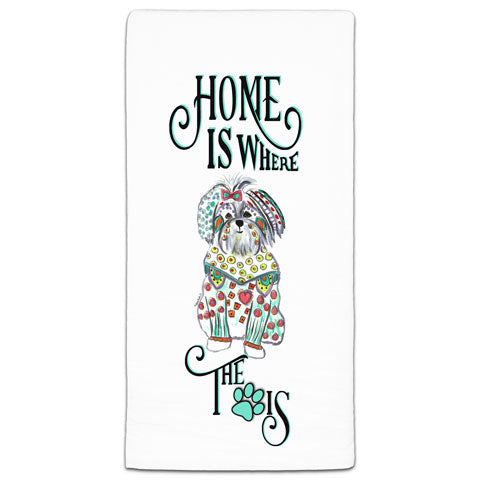 """Maltese Home is Where the Paw Is"" Flour Sack Towel by Mellissa Meeks"