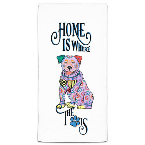 """Rottweiler Home is Where the Paw Is"" Flour Sack Towel by Mellissa Meeks"