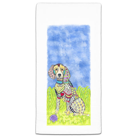 """Beagle at the Park"" Flour Sack Towel by Mellissa Meeks"