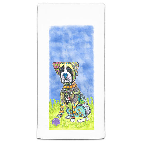 """Boxer at the Park"" Flour Sack Towel by Mellissa Meeks"