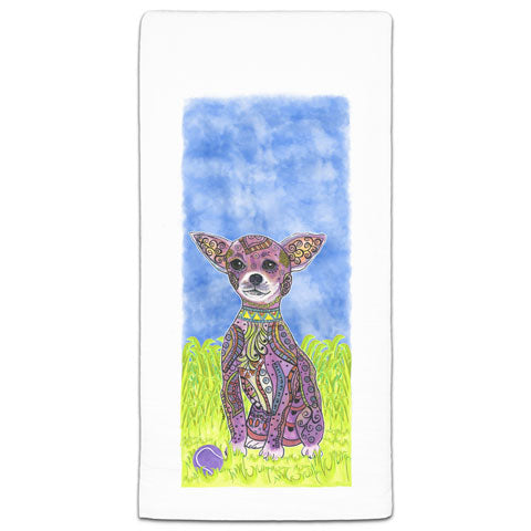"""Chihuahua at the Park"" Flour Sack Towel by Mellissa Meeks"