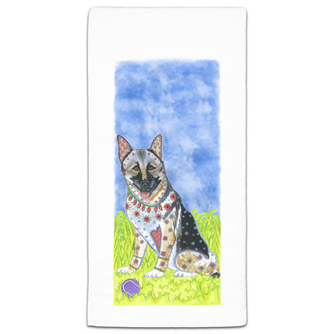 """German Shepherd at the Park"" Flour Sack Towel by Mellissa Meeks"