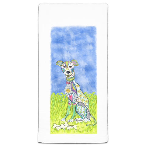"""Greyhound at the Park"" Flour Sack Towel by Mellissa Meeks"