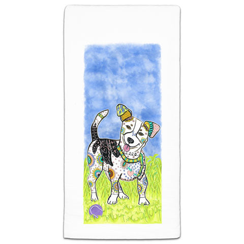 """Jack Russell Terrier at the Park"" Flour Sack Towel by Mellissa Meeks"