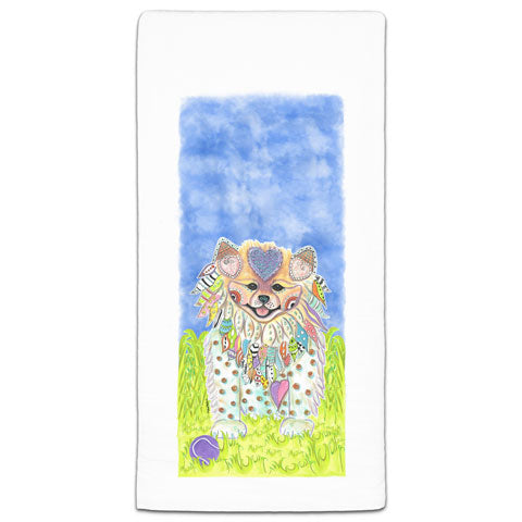 """Pomeranian at the Park"" Flour Sack Towel by Mellissa Meeks"