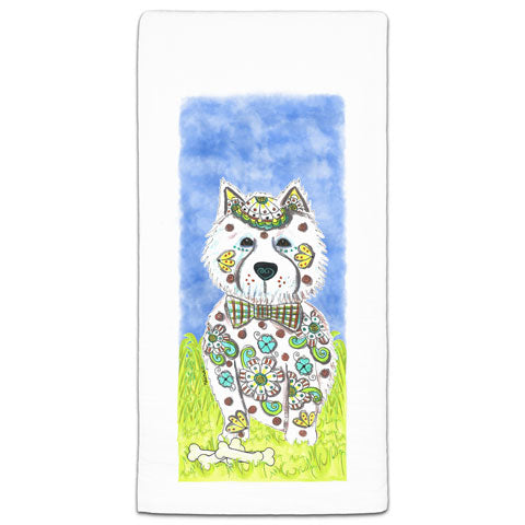 """West Highland Terrier at the Park"" Flour Sack Towel by Mellissa Meeks"