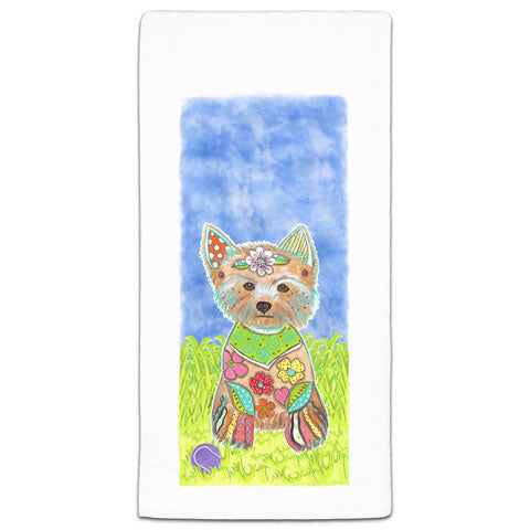 """Yorkshire Terrier at the Park"" Flour Sack Towel by Mellissa Meeks"
