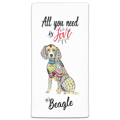 """Beagle All You Need is Love"" Flour Sack Towel by Mellissa Meeks"