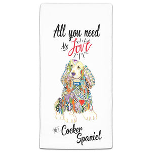 MM3-727-All You Nee is Love and a -Cocker-Spaniel-Dog-Towels-Melissa-Meeks-and-CJ-Bella-Co