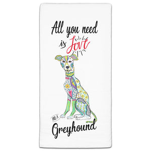 MM3-762-All You Need is Love and a Greyhound-Dog-Towels-Melissa-Meeks-and-CJ-Bella-Co