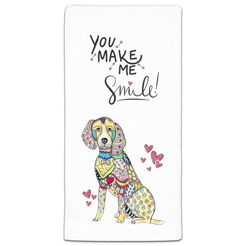 """Beagle You Make Me Smile"" Flour Sack Towel by Mellissa Meeks"