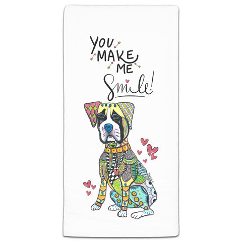 """Boxer You Make Me Smile"" Flour Sack Towel by Mellissa Meeks"