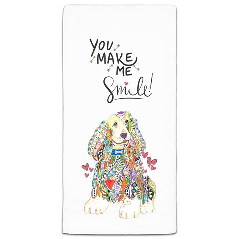 """Cocker Spaniel You Make Me Smile"" Flour Sack Towel by Mellissa Meeks"