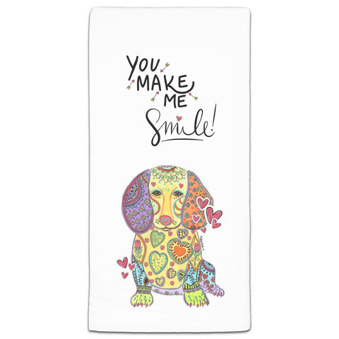 """Dachshund You Make Me Smile"" Flour Sack Towel by Mellissa Meeks"