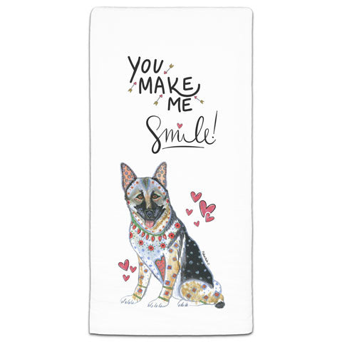 """German Shepherd You Make Me Smile"" Flour Sack Towel by Mellissa Meeks"