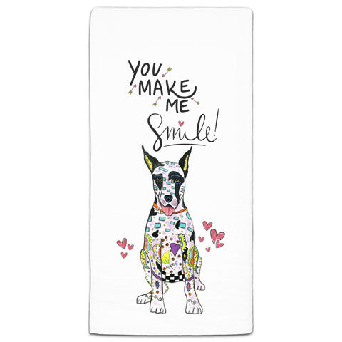 """Great Dane You Make Me Smile"" Flour Sack Towel by Mellissa Meeks"