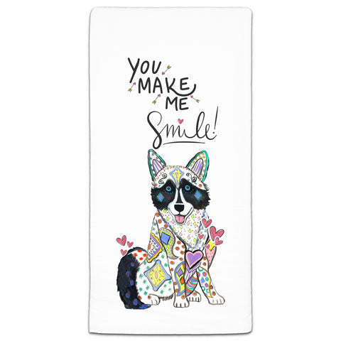 """Husky You Make Me Smile"" Flour Sack Towel by Mellissa Meeks"