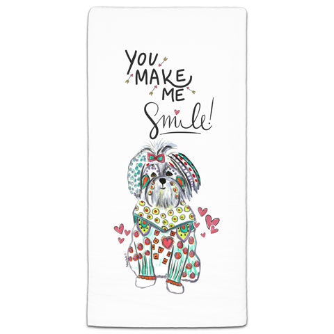 """Maltese You Make Me Smile"" Flour Sack Towel by Mellissa Meeks"