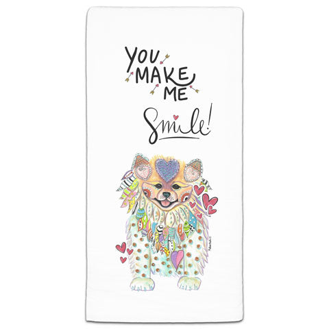 """Pomeranian You Make Me Smile"" Flour Sack Towel by Mellissa Meeks"