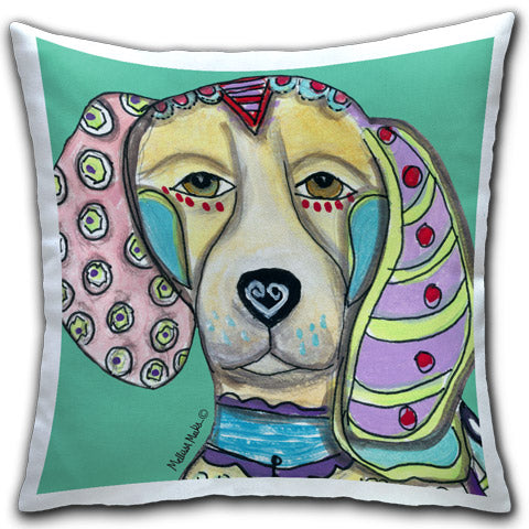 """Beagle"" Pillow by Mellissa Meeks"