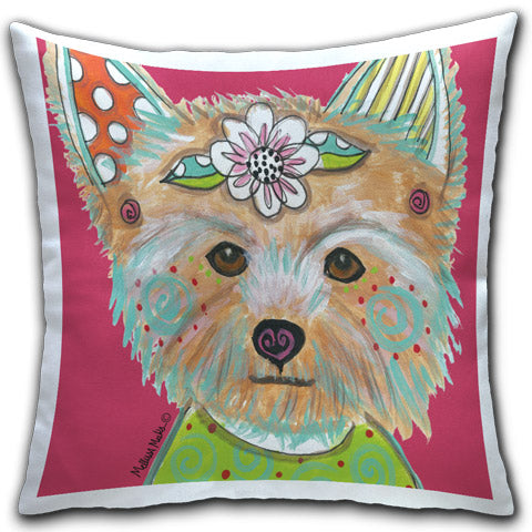 """Yorkshire Terrier"" Pillow by Mellissa Meeks"