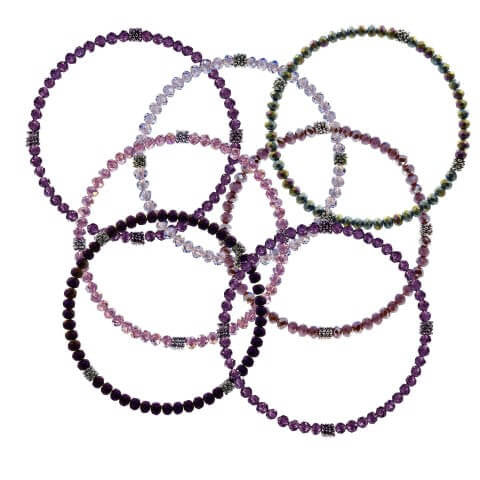 Stackin' Stones Single Bracelet - Purple Tones